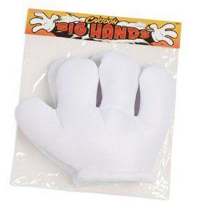 Jumbo Cartoon Hands, White Gloves, , One Size